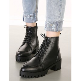 Faddish Chunky Heel Lace-Up Boots in Black Size:35-39