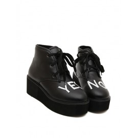 Casual Letters Pattern Platform Heel Boots Size:35-39