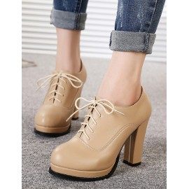 Classical Basic Round-Toe Lace-Up High Heel Ankle Boots Size:34-39