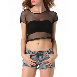 Sexy See Through High-Low Hem Cropped Mesh Tee in Black