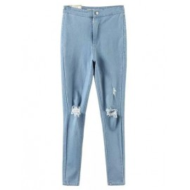 Classic High-Rise Hollow-Out Skinny Jeans in Single Button Size:S-L