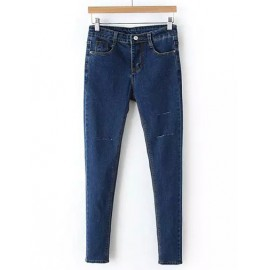 Street Split Trim Single-Button Skinny Jeans in Blue Size:S-L
